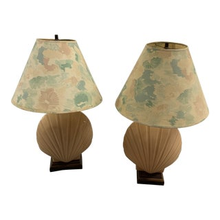 Vintage Palm Beach Regency Oversized Pink Glass Seashell Lamps - a Pair For Sale