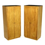 Image of Pair Ash & Black Glass Narrow & Tall Cabinets For Sale