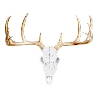 White & Gold Deer Skull Wall Decor For Sale