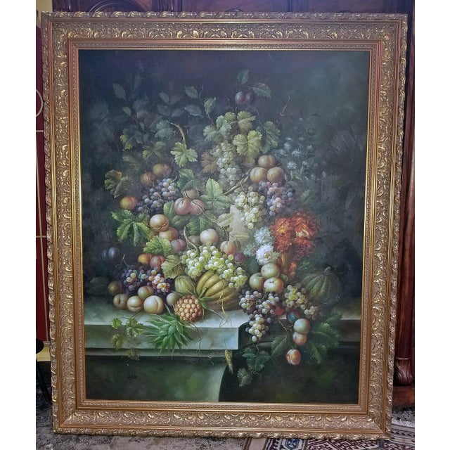 Canvas Fruit Still Life Oil Painting on Canvas by M. Picot For Sale - Image 7 of 9