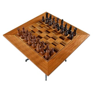 Macassar Ebony and Teak Exotic Hardwood Chess Set Table Set Preview