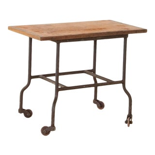 Vintage Industrial Side Table on Wheels For Sale