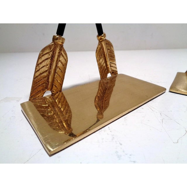 1970s Vintage Lacquered Brass Arrow Maitland Smith Style Bookends For Sale - Image 5 of 9