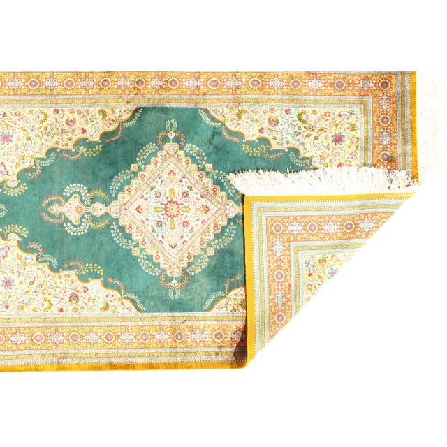"""Islamic 1970s Persian Pasargad N Y Qum Hand Knotted Silk Area Rug - 4'2"""" X 6'6"""" For Sale - Image 3 of 4"""