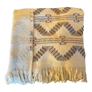 Vintage Handmade Loomed Textured Pattern Fringed Decorative Throw Blanket For Sale