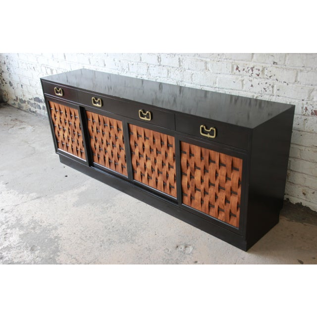 Asian Edward Wormley for Dunbar Woven Front Sideboard Credenza For Sale - Image 3 of 13