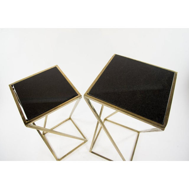 Modern Gold Steel & Black Granite Accent X Frame Tables - A Pair - Image 4 of 11