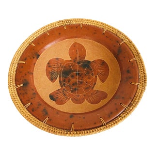 Vintage Woven Rim Terra Cotta Pottery Turtle Tray For Sale