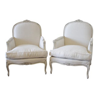 French Louis XV Style Painted and Upholstered Bergère Chairs - a Pair