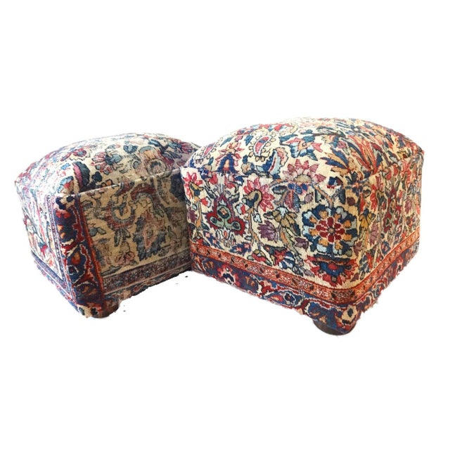 Boho Chic Ottomans Upholstered with Antique Kirman Savonnerie Rug - a Pair For Sale - Image 3 of 7
