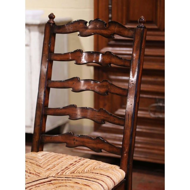 2000 - 2009 Country French Carved Walnut Ladder Back Chairs With Rush Seat, Set of Six For Sale - Image 5 of 11