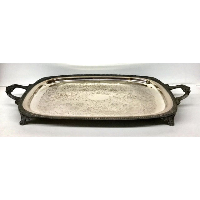 1940s Art Deco F B Rogers Silver Plate Serving Tray For Sale - Image 4 of 12