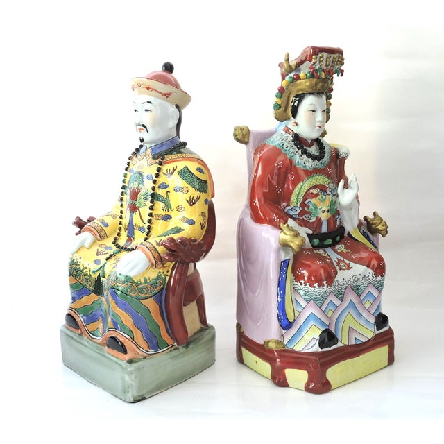 Vintage Chinese Emperor & Empress Seated Figures - Pair - Image 2 of 10