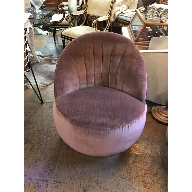 1960s 1960s Vintage Pair of Milo Baughman for Thayer Coggin Channel Back Swivel Lounge Chairs Newly Upholstered For Sale - Image 5 of 11