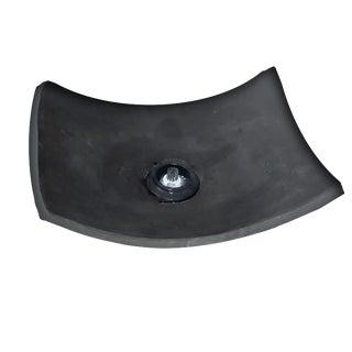 1990s Zebi Dark Gray Brutalist Ikebana Clay Platform, Signed For Sale
