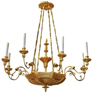 19th Century Austrian Neoclassical Giltwood Chandelier For Sale