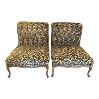 Early 20th Century French Tufted Slipper Chairs - a Pair For Sale
