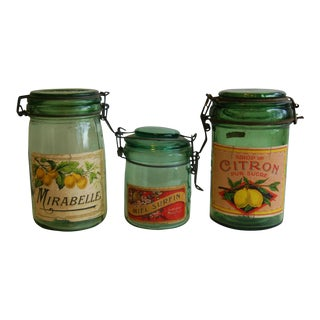1930s French Canning Preserve Jars with Labels - Set of 3