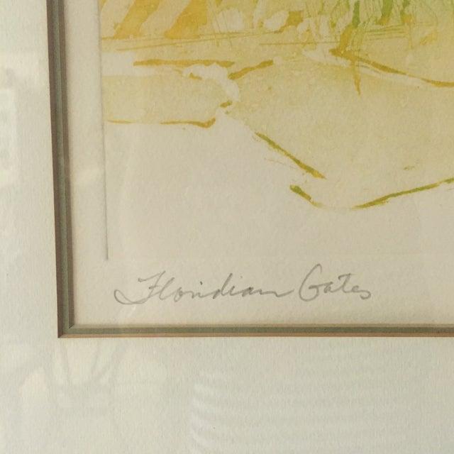 """Floridian Gates"" Framed Intaglio Etching - Image 3 of 10"