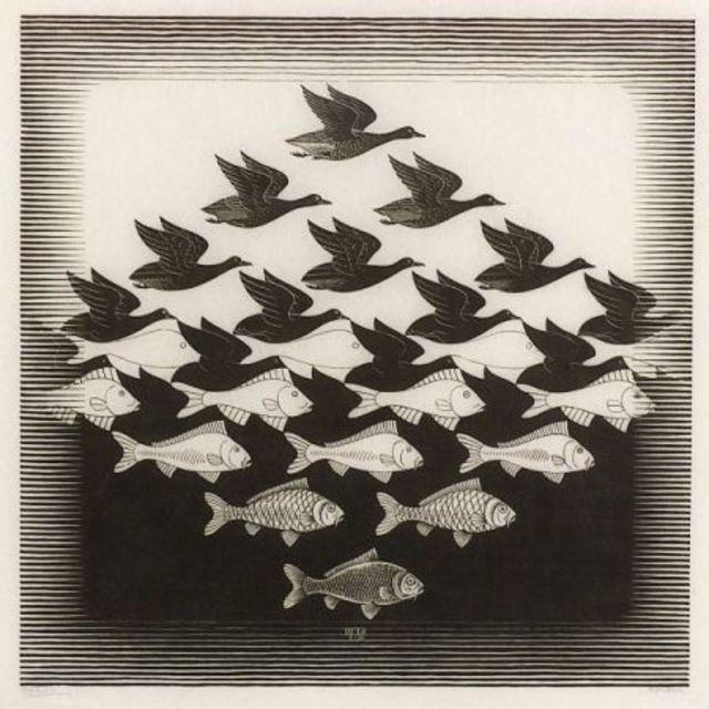 20th Century Surrealist Framed M. C. Escher Sky and Water Print For Sale - Image 4 of 7