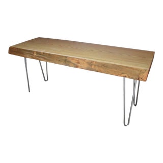 Vintage Live Edge Wood Slab Bench with Metal Legs For Sale