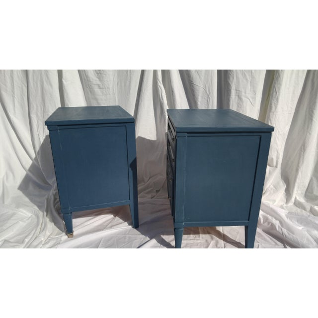 Mid-Century Blue Nightstands - A Pair - Image 4 of 10