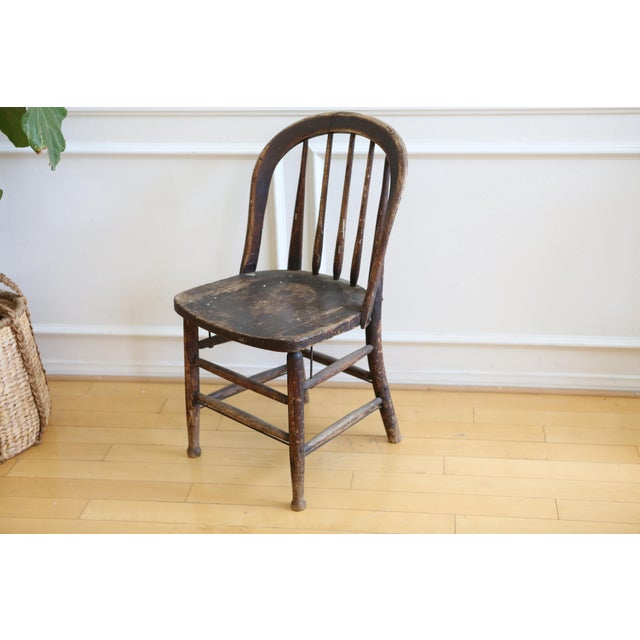 Antique American Primitive Accent Wood Chair - Image 4 of 9
