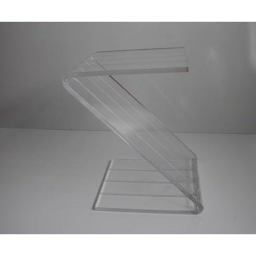 Modern Vintage Lucite Z-Shaped Side Table For Sale - Image 3 of 7