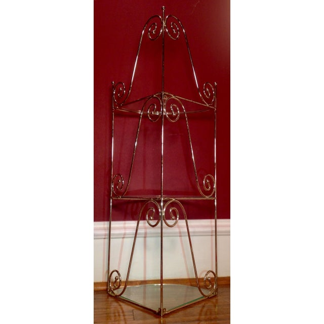 Mid-Century Modern Brass & Glass Shelf - Image 5 of 6