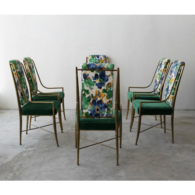 """Mastercraft Set of 6 Solid Brass Faux Bamboo """"Imperial"""" Dining Chairs by Mastercraft For Sale - Image 4 of 8"""