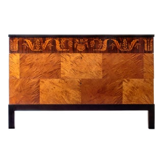 Carl Malmsten, Swedish Grace Period Flame Birch & Rosewood 3-Drawer Commode For Sale