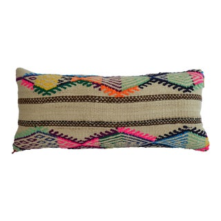 "Vintage Turkish Kilim Lumbar Pillow Cover 12"" X 26"" For Sale"