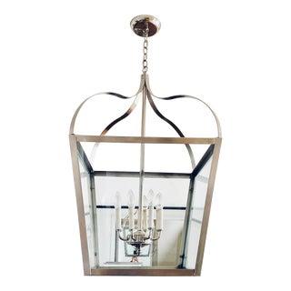 1970s Nickel Plated Vintage Lantern Chandelier For Sale