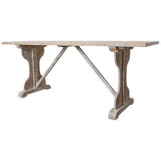 Rustic Country French Painted Pine Farmhouse Trestle Table For Sale