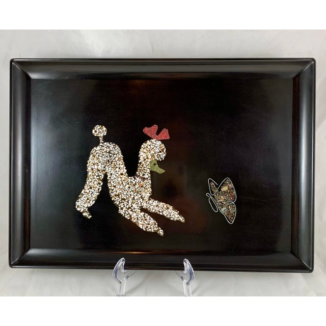 Mid-Century Modern Couroc Poodle & Butterfly Inlay Serving Tray For Sale - Image 10 of 10