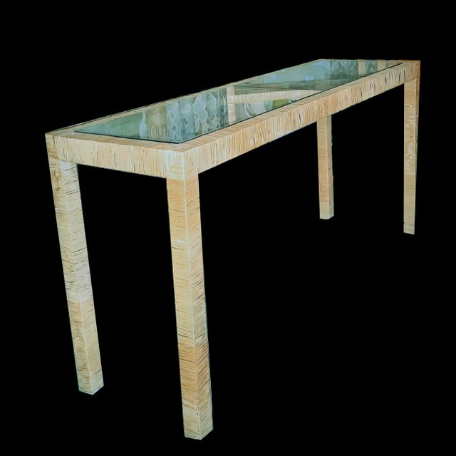 Bielecky Brothers Wicker Papyrus Reed Wrapped Console Table with Inlaid Glass Top For Sale - Image 9 of 11