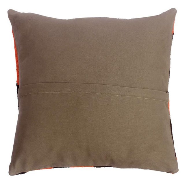 """2010s Desmond Blue/Rust Hand-Woven Kilim Throw Pillow(18""""x18"""") For Sale - Image 5 of 6"""
