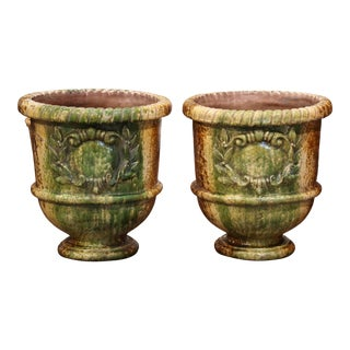 Pair of 20th Century French Glazed Terracotta Green Planters From Provence For Sale