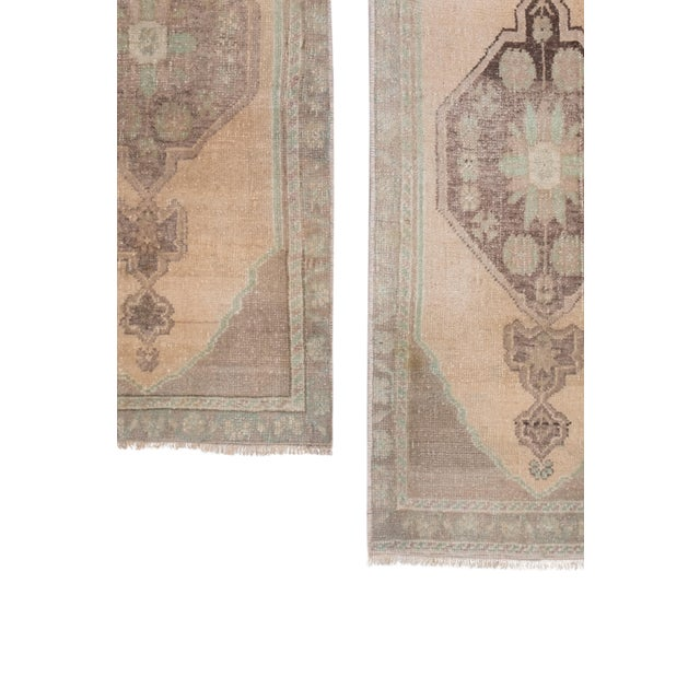 """Distressed Small Turkish Oushak Rug - a Pair 19"""" X 42"""" For Sale In Dallas - Image 6 of 10"""