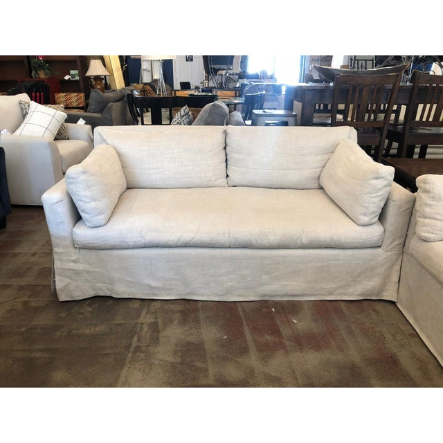 White Restoration Hardware Belgian Track Arm Classic Slipcover 6' Sofa For Sale - Image 8 of 8