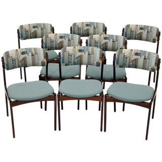 Set of Eight Rosewood Dining Chairs by Erik Buck For Sale