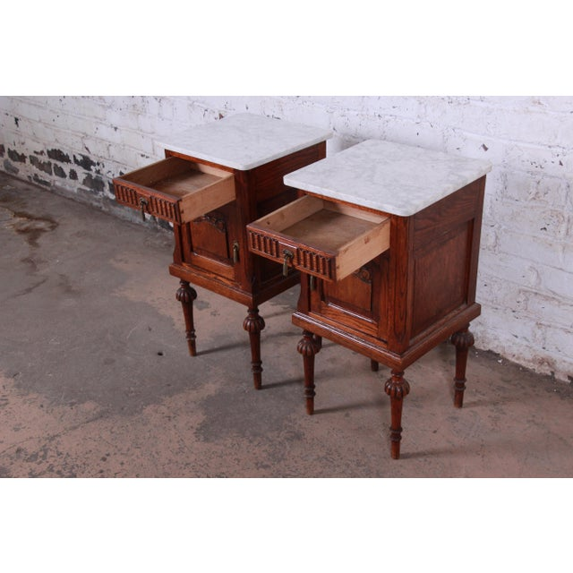 19th Century Victorian Carved Oak Marble Top Nightstands - a Pair For Sale In South Bend - Image 6 of 13