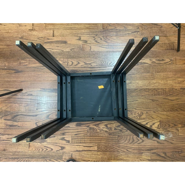1940s Japanese Black Lacquer Nesting Table With Hand Painting - Set of 3 For Sale - Image 11 of 13