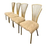 Image of Vintage Mid Century Hollywood Regency Fur Dining Chairs- Set of 4 For Sale
