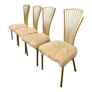 Vintage Mid Century Hollywood Regency Fur Dining Chairs- Set of 4 For Sale