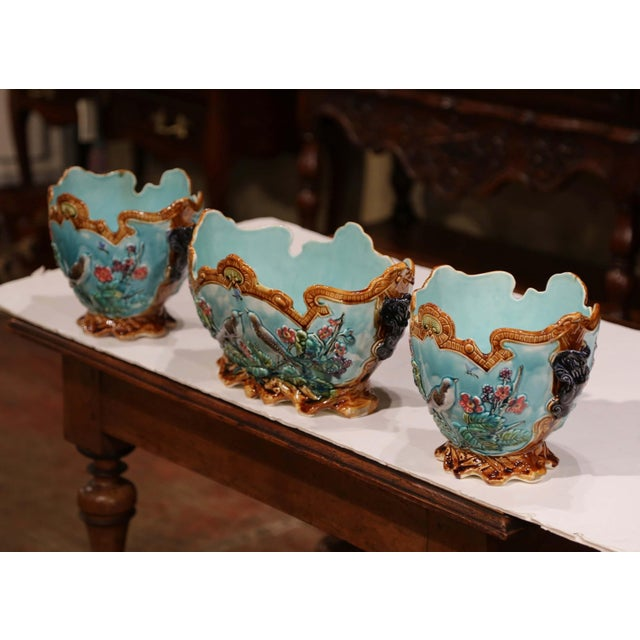 Ceramic 19th Century French Hand Painted Barbotine Cachepots With Bird and Flower Decor For Sale - Image 7 of 13