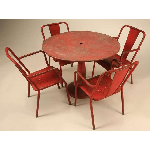 Industrial French Mid-Century Industrial Steel Table and Chairs - 7 pieces For Sale - Image 3 of 12
