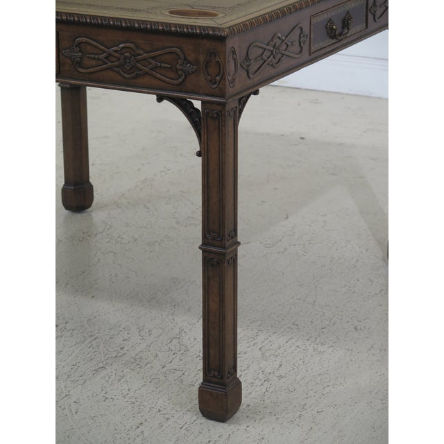 Chippendale 1990s Chippendale Maitland Smith Square Leather Top Games Table For Sale - Image 3 of 11