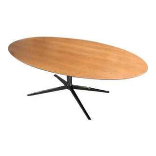 1960s Mid-Century Modern Florence Knoll Oak on Chrome Base Oval Dining/Conference Table For Sale