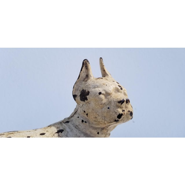 1930s Vintage White Cast Iron Boston Terrier Dog Sculpture / Doorstop For Sale - Image 9 of 11